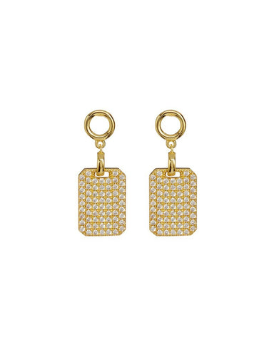 The Pave Dogtag Studs - Gold