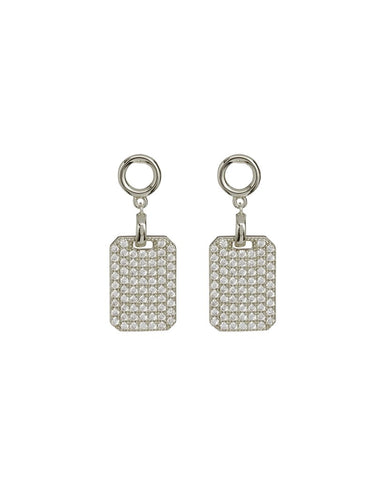 The Pave Dogtag Studs - Silver