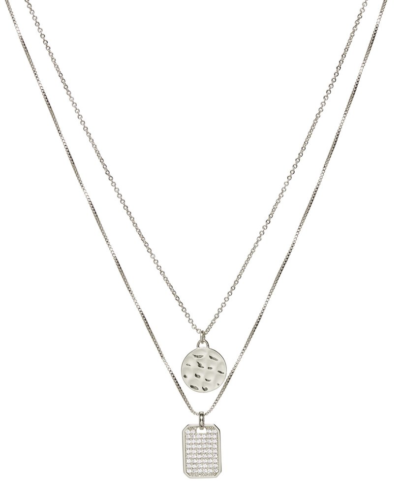 Load image into Gallery viewer, The Pave Double Dog Tag Necklace - Silver