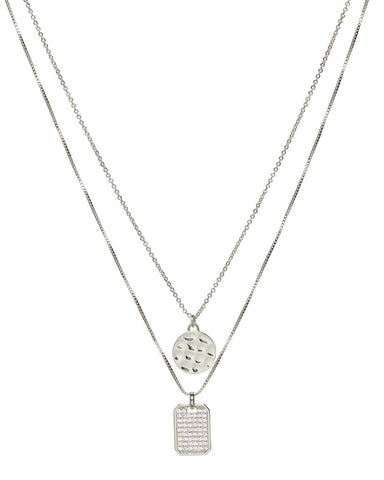 The Pave Double Dog Tag Necklace - Silver