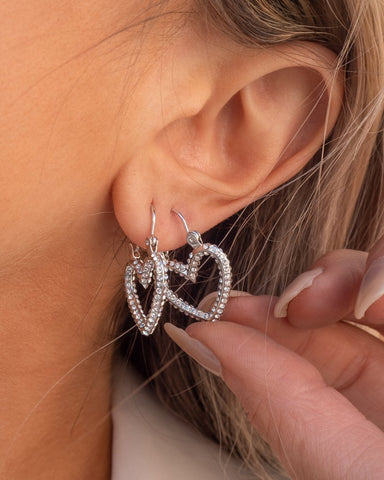 The Pave Mini Heartbreaker Hoops - Silver