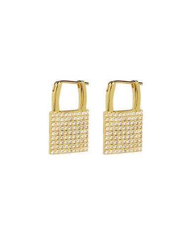 The Pave Padlock Earrings - Gold