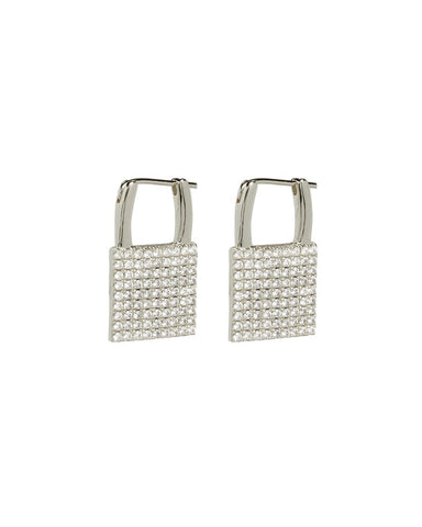 The Pave Padlock Earrings - Silver