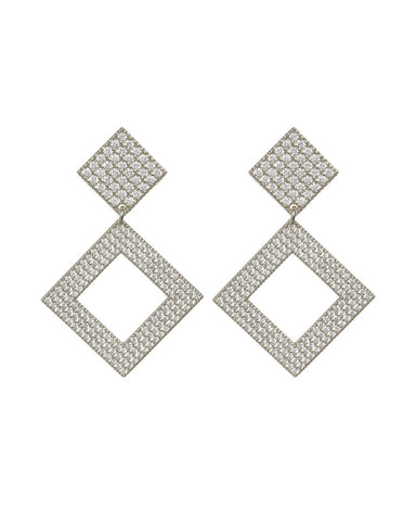 The Pave Princess Earrings - Silver