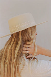 The Sierra Gold Ivory Boater Hat by Lack of Color