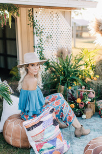 Gypsy Love Pants in Red Dahlia Tropical Teal  by Bohemian Mama The Label