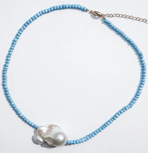 Bohemian Mama The Label Turquoise Baroque Pearl Choker