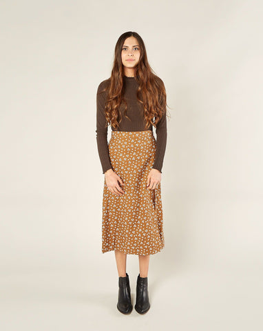 Womens Midi Front Slit Skirt - Cinnamon