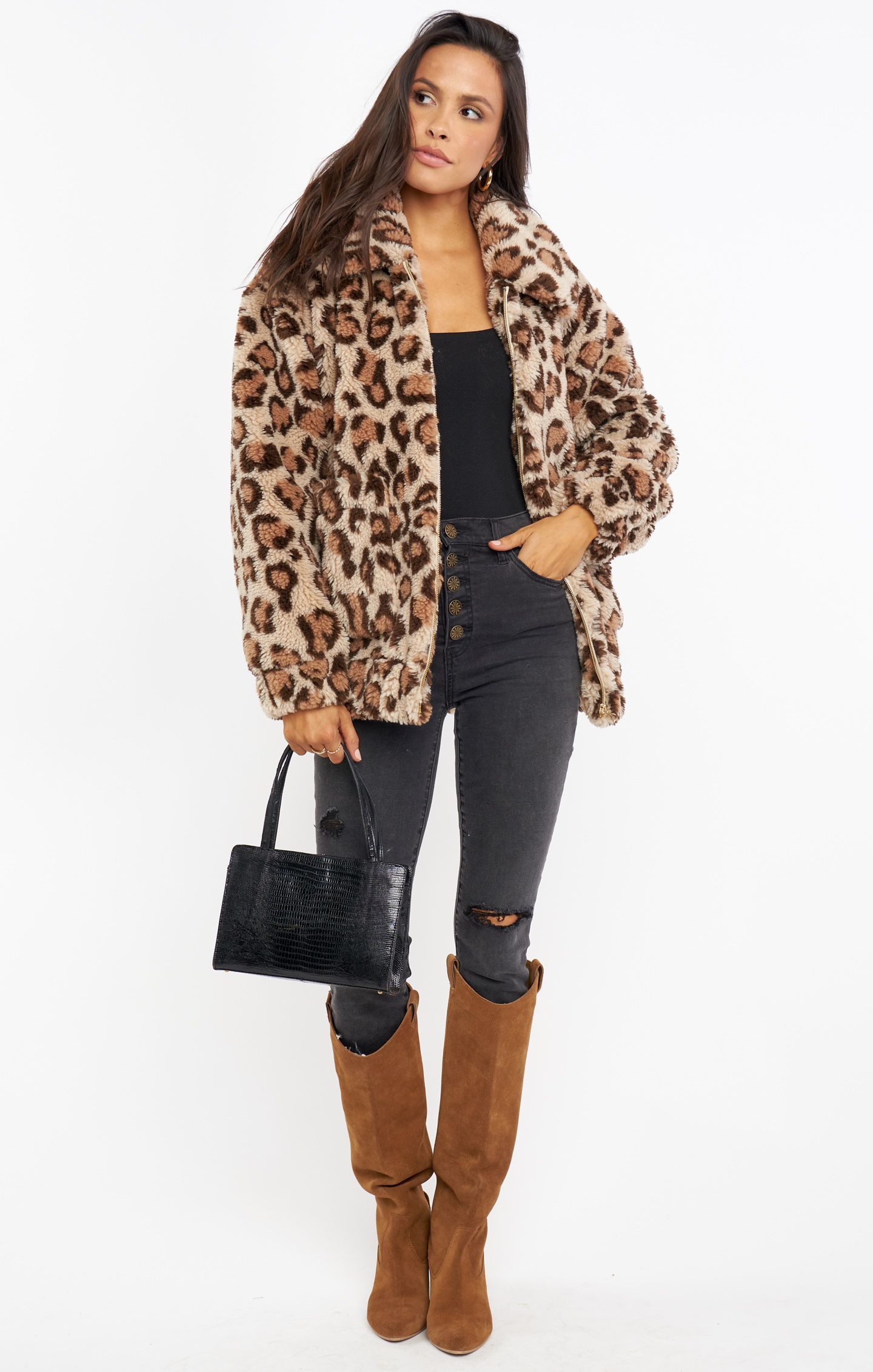 Load image into Gallery viewer, Soho Button Up Skinnies - Distressed Black & Cordelia Jacket Leopard Fleece | Show Me Your Mumu - Women's Pants