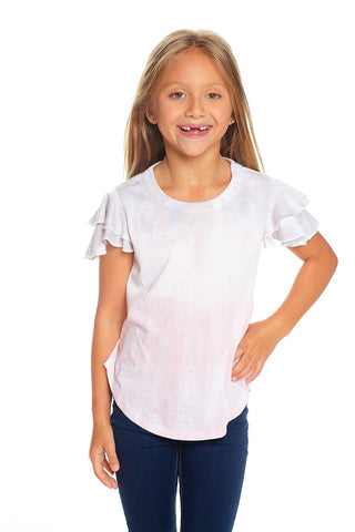 Vintage Jersey Flutter Sleeve Shirttail Tee in Dip Dye by Chaser Kids