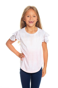 Vintage Jersey Flutter Sleeve Shirttail Tee in Dip Dye by Chaser Kids | Girls Clothing