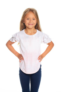 Vintage Jersey Flutter Sleeve Shirttail Tee in Dip Dye by Chaser Kids | Bohemian Mama