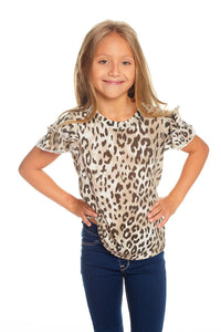 Vintage Jersey Flutter Sleeve Shirttail Tee by Chaser Kids - Animal Print
