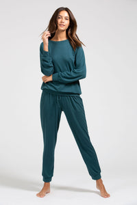 Mina Ringer Sweatshirt - Evergreen