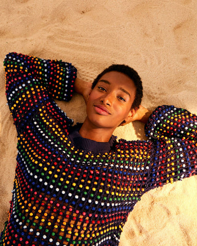 Multi Colored Beaded Crochet Sweater