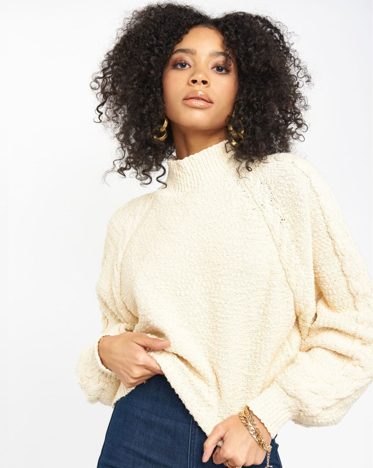 Vienna Sweater - Vanilla Cable Knit | Show Me Your Mumu - Women's Outerwear