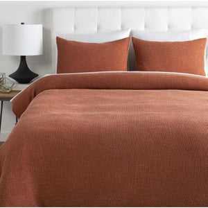 Waffle Bedding Collection -  Burnt Orange | Surya - Home Bedding & Pillow Shams