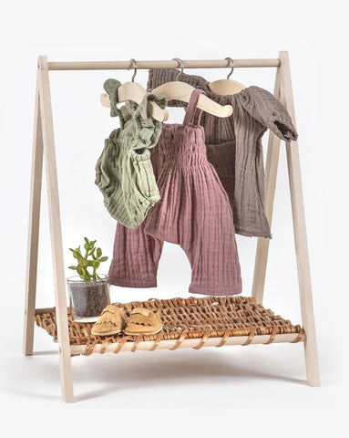 MiniKane Wooden  Doll Clothing Rack with Rattan Shelf