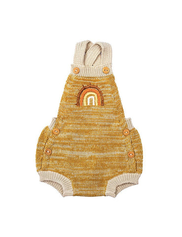 Wild Wawa Rainbow Knitted Romper - Mustard Natural