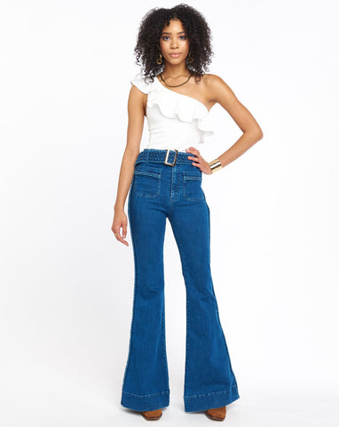 Farrah Trouser Flare - Braided True Blue