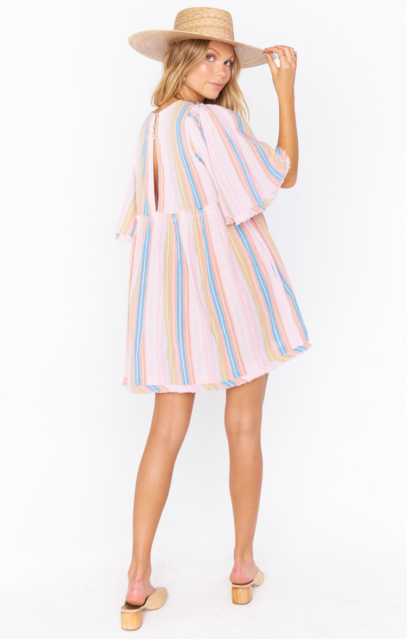 Load image into Gallery viewer, Brooks Babydoll Mini Dress - Paradise Stripe| Show Me Your Mumu - Women's Clothing