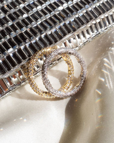 Pave Twisted Ring - Silver