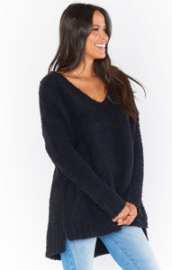 Hug Me Sweater - Black Fuzzy Knit