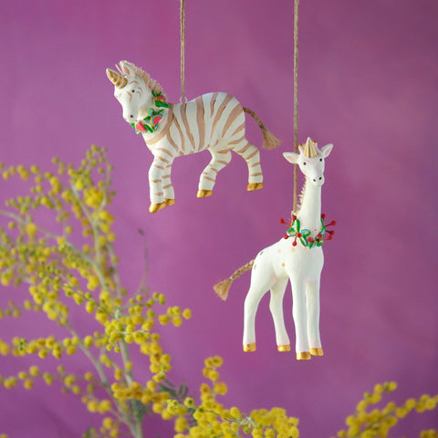 Glitterville Zebra and Giraffe Ornament