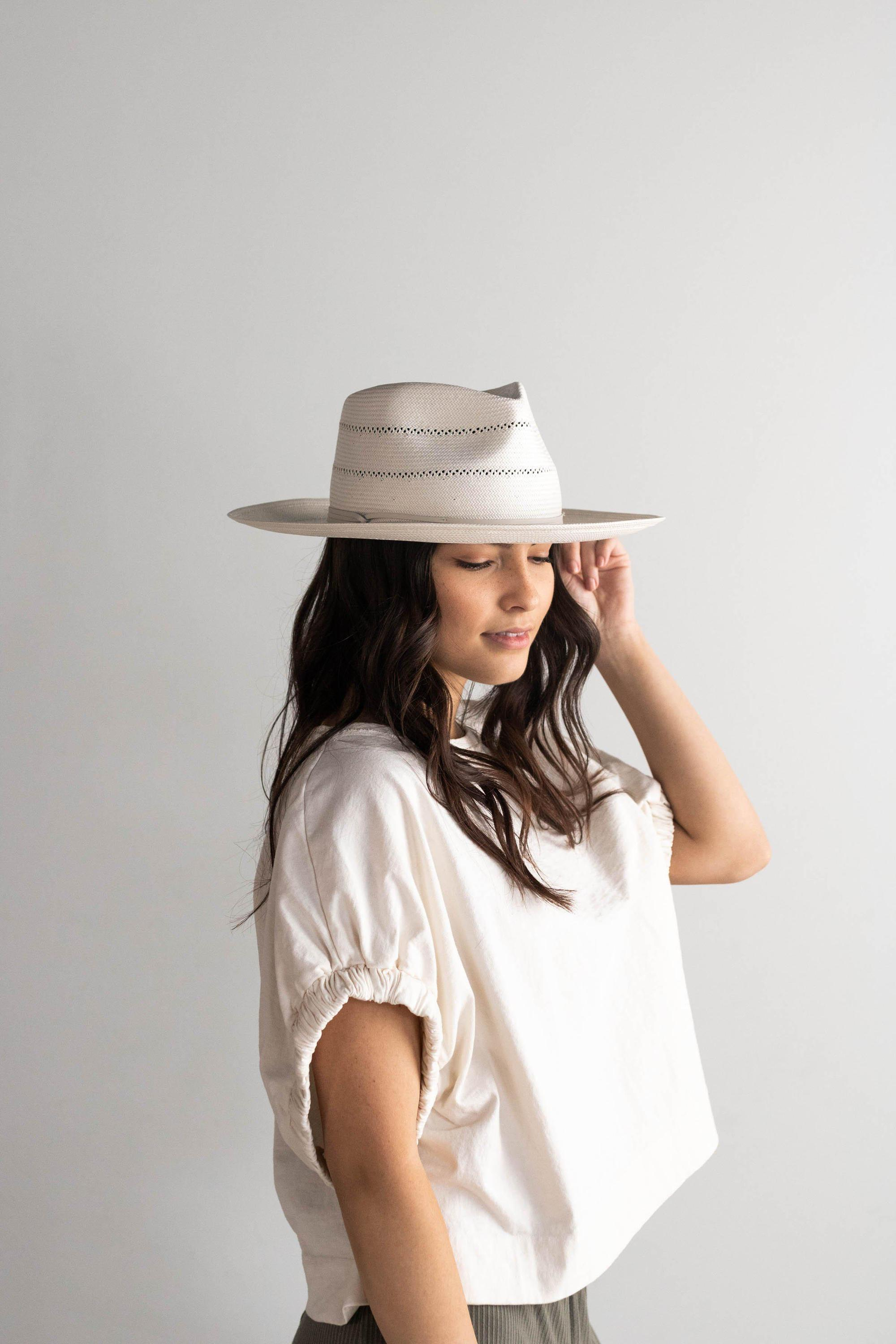Load image into Gallery viewer, Gigi Pip Arlo Cream Band - Straw Teardrop Fedora