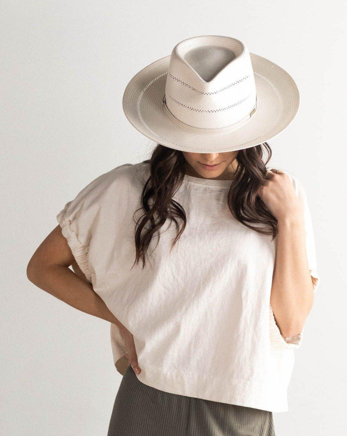 Gigi Pip Arlo Cream Band - Straw Teardrop Fedora