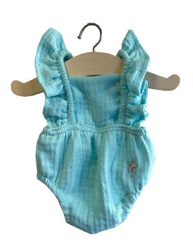 MiniKane Lou Little Doll Ruffle Romper - Water Green