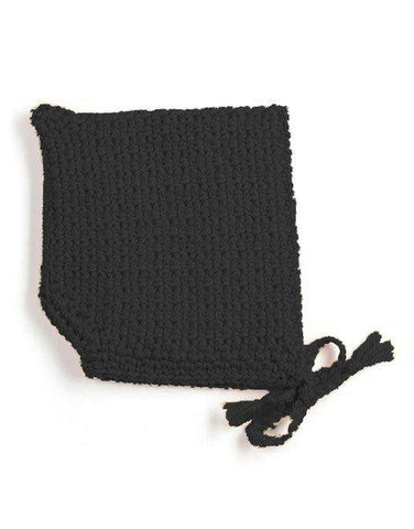 Minikane Pointed Crochet Bonnet - Black