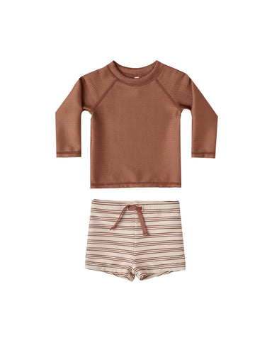 Striped Rashguard Boy Set Amber-Shell