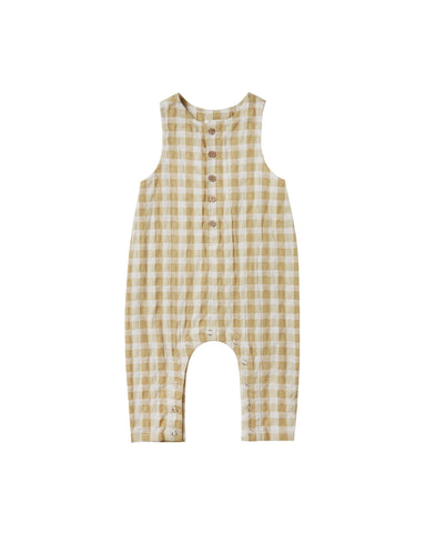 Girls Gingham Button Jumpsuit Butter
