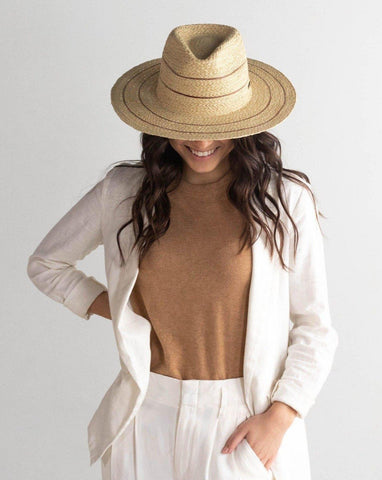 Gigi Pip Camila Fedora - Natural with Stripes