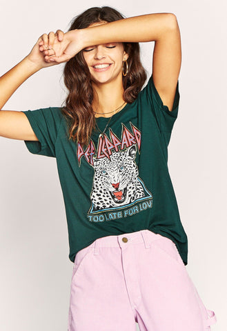 Def Leppard Too Late For Love Tee - Emerald