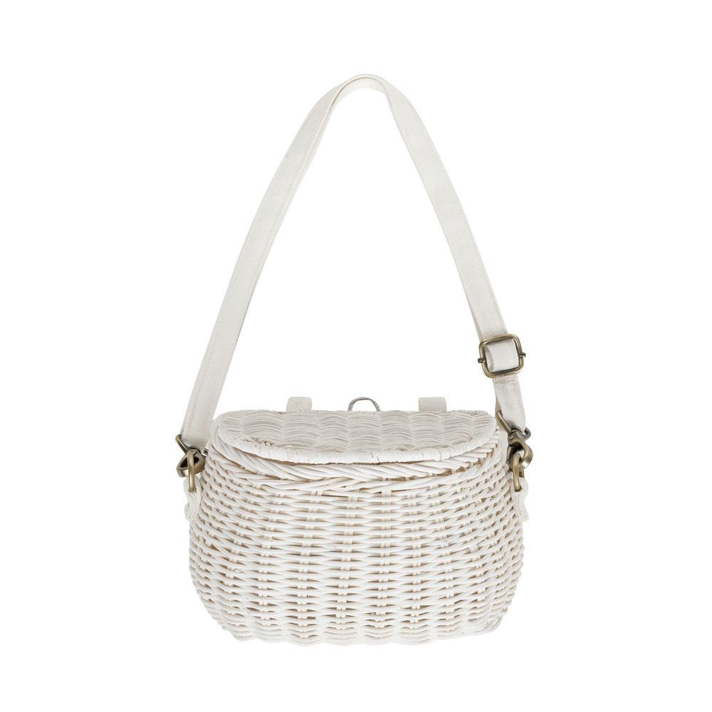 Load image into Gallery viewer, Olli Ella Mini Chari Bag - White | Rattan Bags for kids