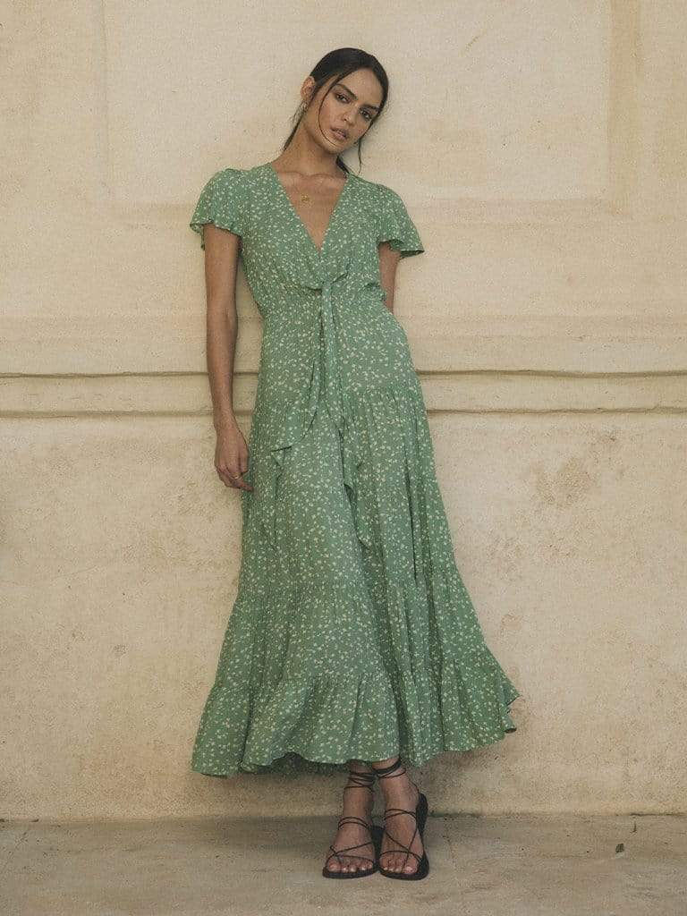 Load image into Gallery viewer, Lucia Ditsy Tie Front Maxi - Green Ditsy | Kivari - Women's Clothing
