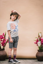 Load image into Gallery viewer, Sun and The Dog Tee in Blue Stripe from Wander & Wonder