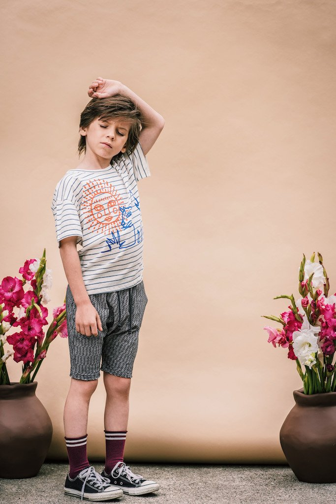 Sun and The Dog Tee in Blue Stripe from Wander & Wonder