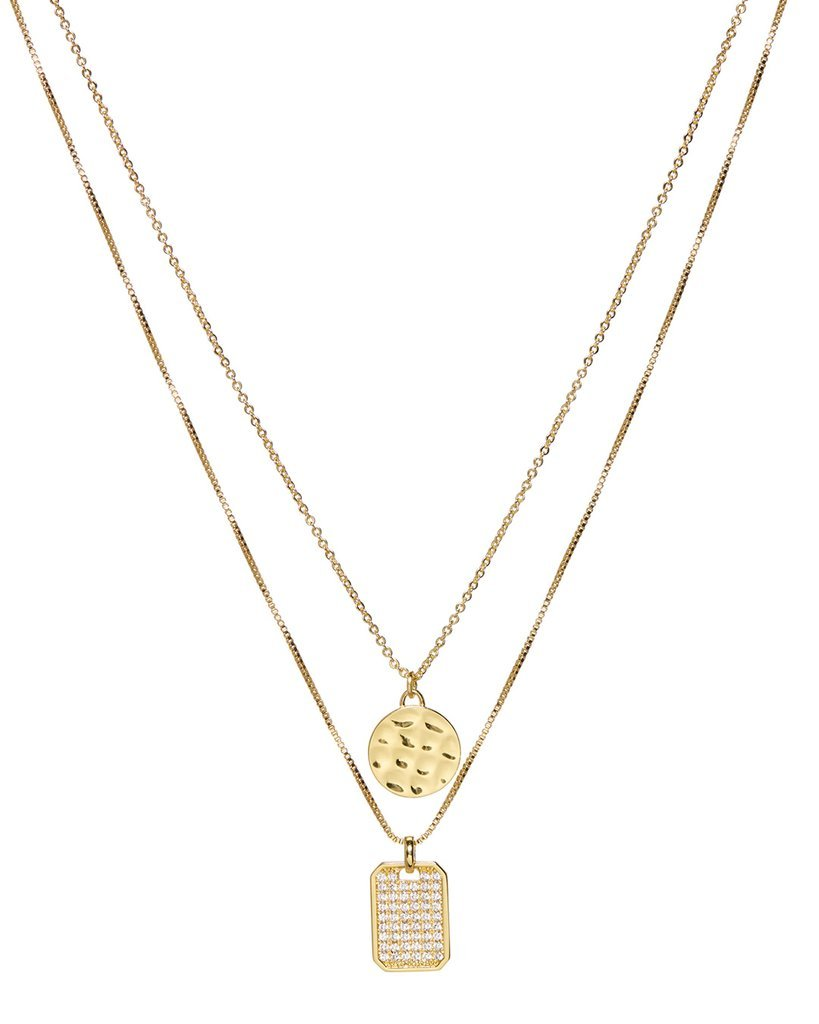 Load image into Gallery viewer, The Pave Double Dog Tag Necklace - Gold