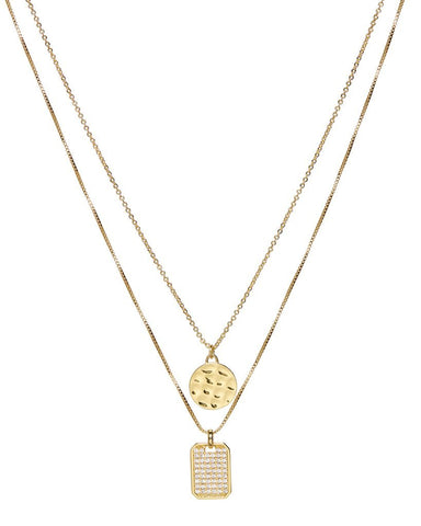 The Pave Double Dog Tag Necklace - Gold