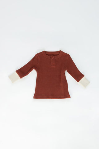 Fin & Vince Waffle Henley - Gingerbread