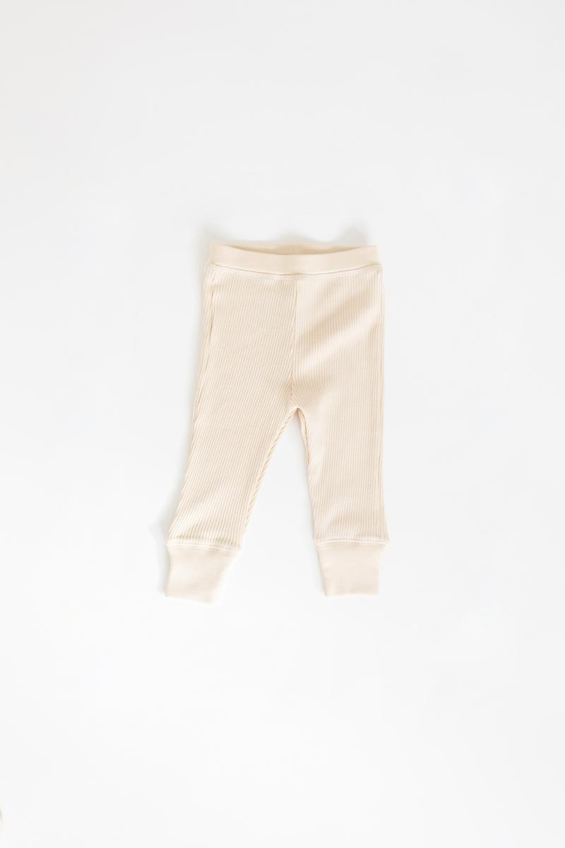 Fin & Vince Drop Needle Ribbed Pant - Milk