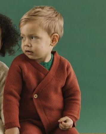 Fin & Vince Layette Wrapped Cardigan - Gingerbread