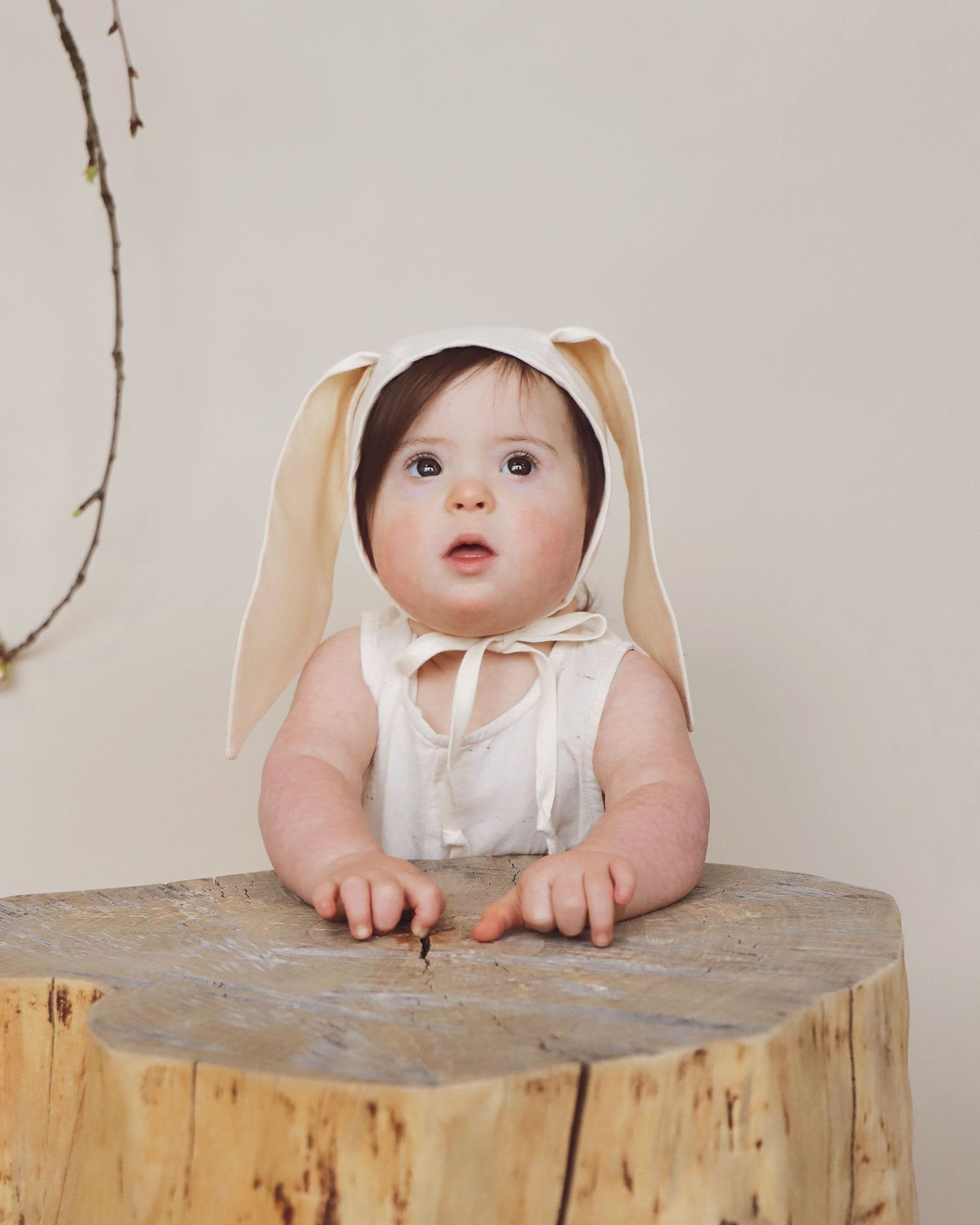 Load image into Gallery viewer, Ivory Bunny Bonnet | Briar Baby - Newborn Baby Headwear