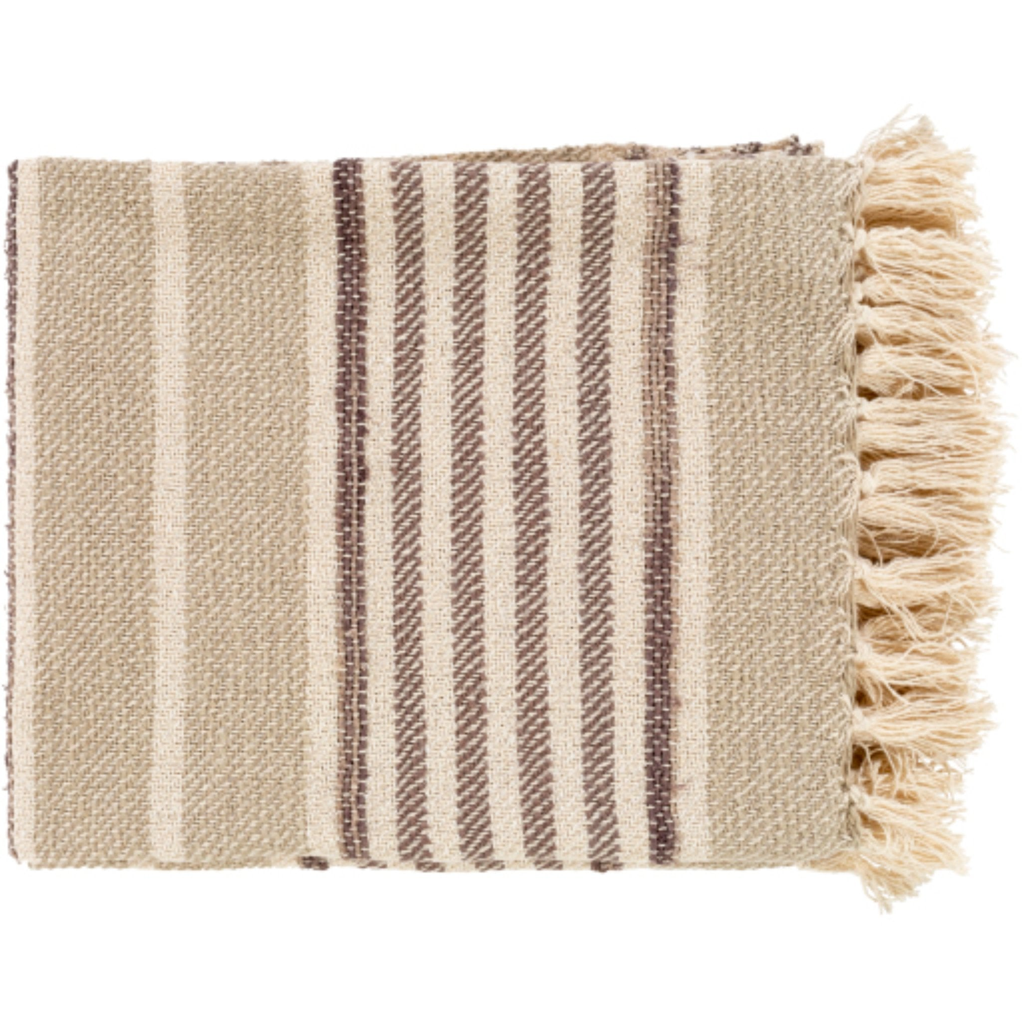 Load image into Gallery viewer, Beau Throw Blanket Khaki/Charcoal | Surya - Home Décor