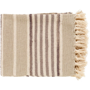Beau Throw Blanket Khaki/Charcoal | Surya - Home Décor