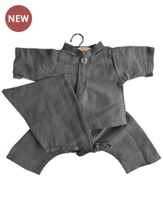 Minikane Blue Linen Mao Set - Dark Grey