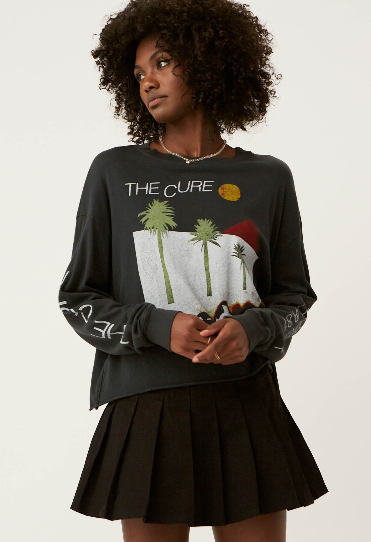 The Cure Boys Don't Cry Long Sleeve Crop - Vintage Black | Daydreamer LA - Women's Clothing
